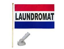 5' Wooden Flag Pole Kit W/ Nylon White Bracket 3x5 Laundromat Rwb Polyester Flag