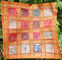 Housse de coussin indien Orange Patchwork Fait main Multicolore Inde Coton J4