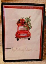 New Red Truck Christmas Glitter Cards Boxed 8 Handmade w/Envelopes 3D Die Cut