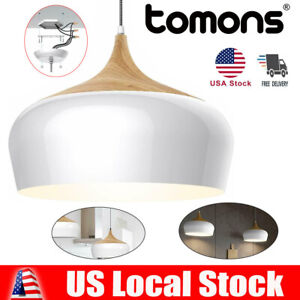 Modern Style Wood Pattern Ceiling Lights, Pendant Light with 8W LED Lamp Bulb