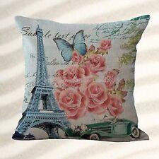 Retro Paris Eiffel Tower Flower cushion cover outdoor throw pillow covers