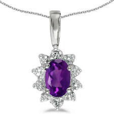 14k White Gold Oval Amethyst And Diamond Pendant (Chain NOT included)
