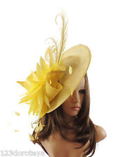 Yellow Fascinator Hat for weddings/ascot/proms A1