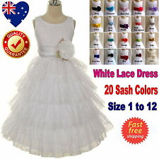White Lace Flower Girl Dress Communion Confirmation Girls Dress Size 1 to 12
