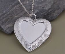 Stunning 925 Sterling Silver Large Heart Photo LOCKET Charm Pendant Necklace