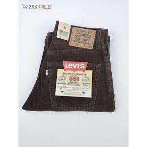 LEVI'S Cord Jeans Samt Levis 551 Brown Castagna Regular Fit Gerade Vintage