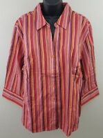 Lane Bryant Blouse Womens Plus Size 2X Stretch Button Front V Neck 3/4 Sleeve