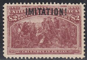 USA 1893 $2 Columbian 242 SCARCE old Forgery by Krueger, Counterfeit, Fake.