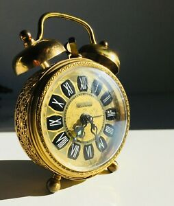 Vintage Blessing Mechanical Alarm Clock Brass | Filigree Surround | W. Germany