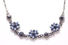 Enchanting Garden- Blue Diamanté Encrusted Flower Trio /metal Necklace(Zx224)