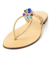 Emanuela Caruso Flip Flops Flats with Crystals Size UK 4 > EU 37 Brand New
