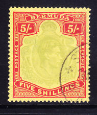 BERMUDA GVI 1939 SG118a 5/- pale green & red on yellow P14 very fine used cat£85