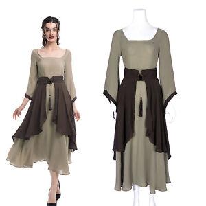 Renaissance Medieval Retro Women Cotton Linen Long Dress+Apron Costume