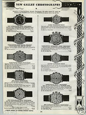 1940 PAPER AD New Gallet Chronograph Wrist Watch Double Button Multichron