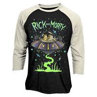 Official RICK AND MORTY Spaceship Baseball Long SleeveT Shirt NEW S M L XL