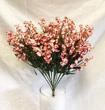12 Babys Breath ~ BURGUNDY & CREAM ~ Gypsophila Silk Wedding Flowers Centerpiece