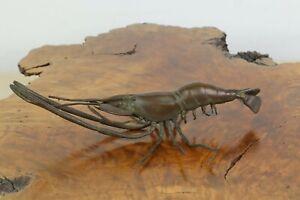 Signed / Marked Meiji Era 1868-1912 Antique Japanese Bronze Crayfish Okimono