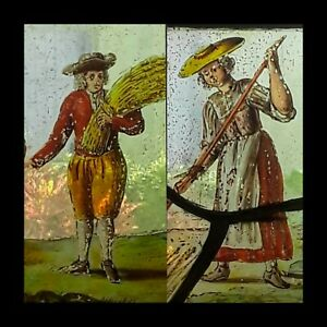 A PAIR OF CHARMING 17th C. FLEMISH STAINED GLASS WINDOW PANELS COUPLE HARVESTING
