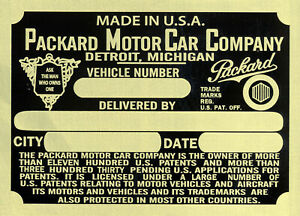 Packard Data Plate Brass 1935 I make most plates in USA VIN ID Identification