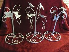 3 shabby cottage white iron butterflies chippy chic metal decorations prisms
