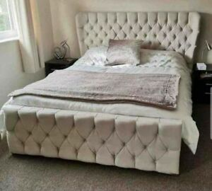 CHESTERFIELD WINGBACK PLUSH UPHOLSTERED BED FRAME 3FT/4FT/4FT6/5FT GREY STEEL