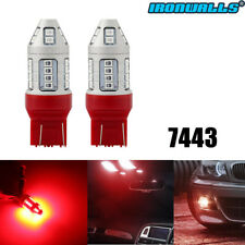 IRONWALLS LED 7443 Strobe Blinking Flashing Brake Light Bulb Safety Warning Red