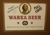 OLD POLISH BEER LABEL, BROWAR WARKA PIWO WARECKIE POLAND, FULL LIGHT 2