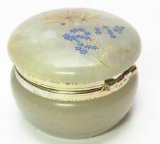 Vintage Genuine Alabaster Trinket Box Floral Design Handmade in Italy BB2C618