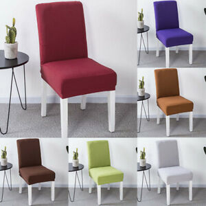 Solid Color Chair Cover Stain Resistant Spandex Dining Chair Cover Sets
