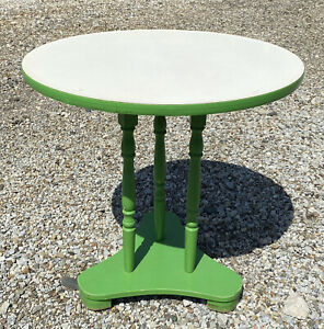 Vintage 1975 Round Wood Table Green & White Lament Top Retro Parlor Card Table