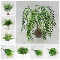Nice Green Leaves Artificial Grass Fake Leaf Greenery Foliage Plant  Home Decor~