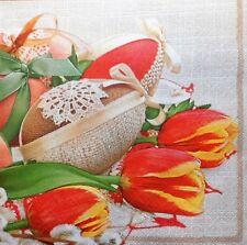 20 X Papel Servilletas huevos de Pascua Flores Tulipán Mesa de fiesta 204