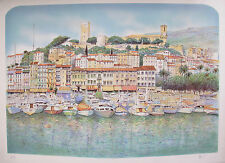 "ROLF RAFFLEWSKI ""CANNES HARBOUR"" Hand Signed Ltd Edition Lithograph Art FRANCE"