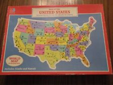 1988 Milton Bradley Map of the United States puzzle. World Map on back.
