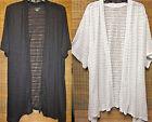 CATHERINES' Knit Short Sleeve Duster Long Cardigan 0X,1X,2X,3X,4X,5X BLACK/WHITE