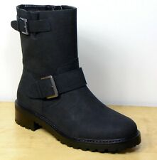 M&S Real LEATHER Cleated Sole BIKER Style ANKLE BOOTS ~ Size 5 WIDE ~ Black