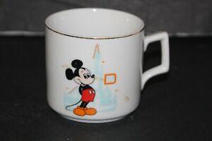 Vintage Walt Disney World Mickey Mouse Coffee Cup Mug Made in Japan Gold Trim