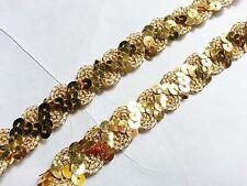 Ajuste del cordón plano Festoneado Lentejuelas De Oro Recorte Ribete 1.5cm no estiramiento de costura