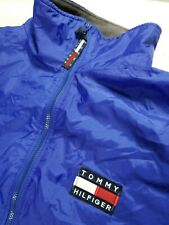 Vintage Tommy Hilfiger BOMBER FLAG LOGO Jacket Men's Large Blue Fleece Lined