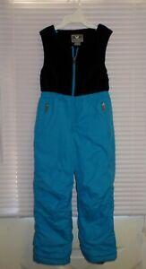 White Sierra Ski Snow Bib Overall Pants Size 5 Kids Blue Black Fleece Upper
