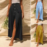 UK Ladies Women Holiday Button Through Long Summer Skirt A-Line Beach Dress 8-26