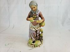 Flambro Porcelain Figurine Old Woman Picking Leaves Pt2
