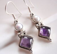Amethyst Square and Cultured Pearl 925 Sterling Silver Dangle Earrings