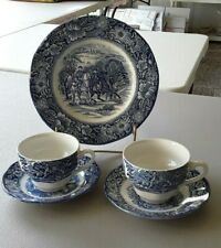 Liberty Blue by Staffordshire - 1 Luncheon Plate, 2 Cups, 2 Saucers *Make Offer*