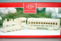 Lenox Christmas Village Holiday Train Engine & Passenger Car New