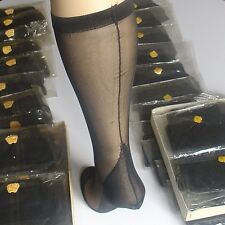😍 Knee highs. Mi-bas voile couture noir talon cubain. Taille 2. Size 9.