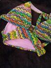 BECCA by Rebecca Virtue Swimsuit Bikini  Size M Bottoms L Top Multi Colored New