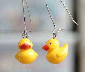 Pretty Yellow Ducky Dangle Earrings