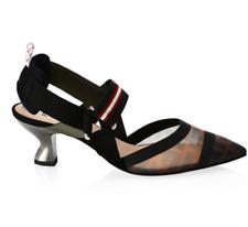 NIB Fendi Logo Mesh Black Brown Kitten Heel Slingback Pumps Shoes Sz 37.5