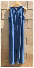 Carol Little Size 10 Blue Jumper Dress Slit Pocket Rayon Zip Up